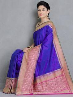 Blue-Fuschia Gadwal Silk Handwoven Saree