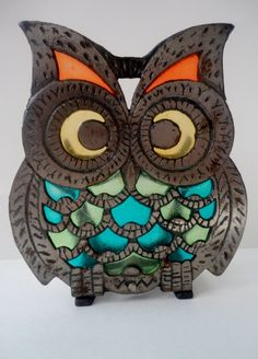 Stained Glass Owl Napkin Holder