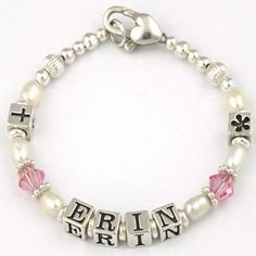 Personalised Baby Bracelet | Christening, Naming Day etc Erin Design