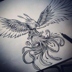 Terminando ave fenix a pedido.. . Cavtattoo… Saludos …. CAVTATTOO. sentimiento/arte/emocion Diseño/ilustracion Www.facebook.com/pages/CAvtattoo/678088998954748?ref=hl #tatuaje #tatuajechile...