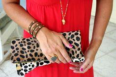 Clare Vivier leopard foldover clutch