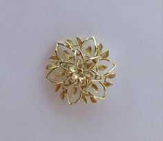 Flower Brooch Gold Tone Openwork Open Filigree by PrettyOldJewels