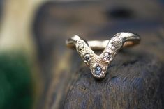 Ethical Raw Diamond Chevron Ring in Gold Types Of Crystals, Raw Stone Jewelry, Chevron Ring, Diamond Alternatives, Raw Diamond, Raw Gemstones, Teardrop Necklace, Conflict Free Diamonds, Gemstone Colors
