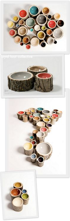 Log Bowls by Doha Chebib  Handmade using only locally reclaimed trees
