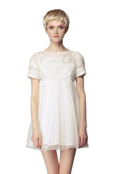 White Short Sleeve High Waist Princess Embroidered Floral Dress.  Gorgeous for someone with long, skinny legs.  (not me)