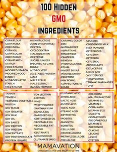 100 HIdden GMO Ingredients. Look for them. Don't buy products that contain them unless they are labeled organic and non-GMO certified.