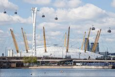the O2 Arena! Thames cable cars - known as the Emirates Air Line