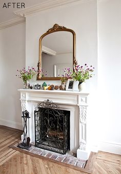 Fireplace: white ornate mantel with old brick hearth. I've got more bricks than I know what to do with. Hmmm....