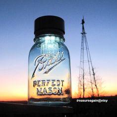 Original Mason Jar Solar Light Blue Antique Ball Mason Jar Lantern, Outdoor, Garden, Wedding, Decoration, Porch, Upcycled Handmade Solar Jar