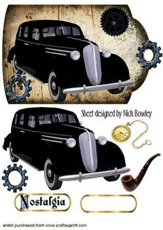 1936 BLACK SEDAN A TOUCH OF NOSTALGIA ON A TAG on Craftsuprint - Add To Basket!