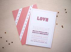 Wedding Invitation, Wedding Suite, Invitation Suite, Typographic,Stripes, Dots, Happy, Modern, Clean & Fresh, Catherine design, customisable