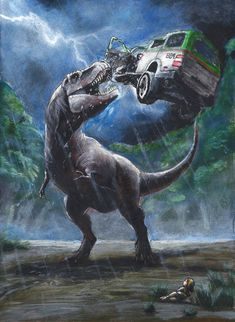 Acrylic painting of the famous T Rex attack scene in the Jurassic Park novel. Jurassic Park Novel, Jurassic Park Poster, Jurassic Park 1993, Lego Jurassic, Jurassic Park World, Jurrassic Park, Park Art, Prehistoric World, Prehistoric Creatures