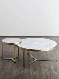 Round marble coffee and side tables with brushed gold metal frame.White marble table top with grey veins and gold undertones Brushed gold metal frame Marble Furniture, Luxury Furniture, Furniture Design, Fine Furniture, Round Marble Table, Marble Coffee Tables, Tea Table Design, Center Table, My New Room