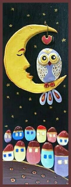 *MADE TO ORDER*- The Owl By StefArt Stone S.A.S If you want this piece of art i will made it for 3-5 days. You are wellcome :) This picture is handmade with stones from Greece,Kavala and White clay on woodenboard. Dimensions : 16x6 inches (40х15 cm.) -Medium: acrylic, varnish /