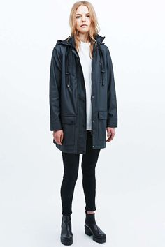 Sparkle & Fade 4-Pocket Raincoat in Black - Urban Outfitters