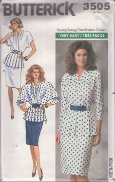 MOMSPatterns Vintage Sewing Patterns - Butterick 3505 Vintage 80's Sewing Pattern DIVINE Dynasty Style 2 Piece Dress, Draped & Pleated Peplum Jacket Top, Slim Skirt Size 12