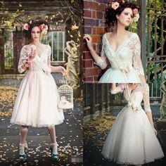 BM 2015 New Fashion V-neck Lace Wedding Dresses High Quality Half Sleeves Empire Sash Flower Ball Gown Short Wedding Bridal Gowns