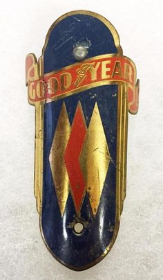 vintage GOODYEAR bicycle Head badge. >>> Thanks to BlubikeRa for sharing this pin. MAKETRAX.net - Bicycle HEADBADGES