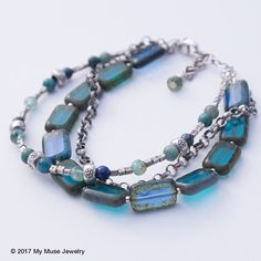 Blue Bracelet, Multi strand Bracelet, Beaded Bracelet, Sundance Style Jewelry, Czech Glass Bead, Boho Jewelry, Colorful Bracelet, Gemstone