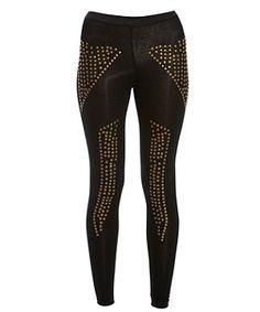 Black (Black) Club L BLack Stud Embellished Leggings   261770201   New Look