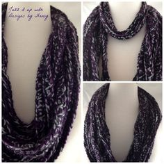 "Infinity Scarf Purple Gray Black Multi-Loop Fashionable Extra Soft. Really fashionable and fun, this scarf is extreme in length and allows many different unique styles. Wear short or long, has approximately 12 strands at the 24"" length. Mix it up with long and short strands, all strands at the same length, wear long across the shoulders, anything goes. Infinity scarf is hand crocheted with three strands, three different colors."