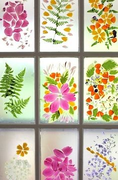 Flower Petal Stained Glass Door :: A Spring Flower Craft Stained Glass Cookies, Stained Glass Door, Stained Glass Crafts, Fused Glass, Art Et Nature, Deco Nature, Nature Crafts, Summer Art Activities, Crafts For Kids