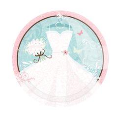 Pappteller für die Hochzeit mit zauberhaftem Brautkleid-Motiv