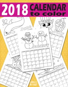 Free Printable Calendar for Kids 2018 #printablecalendar #freeprintablesforkids #calendar
