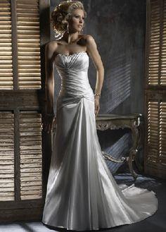 Custom Made A-line Charming Ivory Taffeta Ruched Chapel Train Zipper Up Wedding Dresses For Brides AWD9815