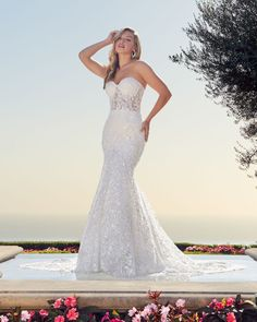 Style 2448 Jocelyn | Strapless Lace Wedding Dress by Casablanca Bridal | Casablanca Bridal Strapless Lace Wedding Dress, Fit And Flare Wedding Dress, Sexy Wedding Dresses, Wedding Gowns, Mob Dresses, Blush Bridal, Bridal Lace, Bridal Style, Casablanca Bridal Gowns