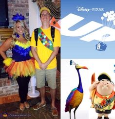 Russell & Kevin from Up - Halloween Costume Contest via this is happening Crazy Costumes, Halloween Queen, Up Costumes, Halloween Costumes For Teens, Halloween Costume Contest, Couple Halloween, Halloween Diy, Disney Couple Costumes, Diy Couples Costumes