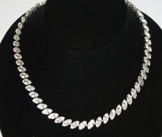 Vintage Necklace Clear Rhinestone Collar 1950s Jewelry. $15.00, via Etsy.