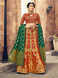 Exclusive collection & offers to buy bridal lehenga choli online for wedding. Buy this jazzy green and hot pink silk lehenga choli. Bridal Lehenga Online, Lehenga Choli Online, Bridal Lehenga Choli, Silk Lehenga, Sari, Indian Lehenga, Indian Bridesmaid Dresses, Indian Dresses, Indian Outfits