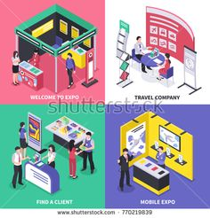 Stock Vector: Isometric expo stand exhibition design concept with images of different exhibit booth with ads and human characters vector illustration