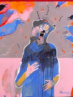 Blue Crow Girls Sing Bear , 2013  acrylic on canvas   48 x 36 in