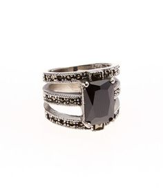 Another great find on #zulily! Marcasite & Black Cubic Zirconia Emerald-Cut Ring #zulilyfinds