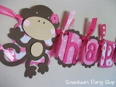 Happy Birthday Banner.. but with a cupcake instead of a monkey on the end ;) (Hello Cricut..!)
