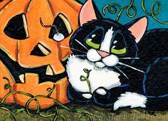 Original Tuxedo Cat ACEO by Lisa Marie Robinson, Animals, Pumpkin, Halloween