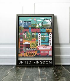 United Kingdom print. Colourful and bold UK print. Lots more Travel and City prints are available here: www.etsy.com/uk/shop/NordicDesignHouse?section_id=19806341 MY PRINTS Prints are produced on a professional Canon printer using Canon dye based inks and a 6 colour system to ensure vivid and rich coloured prints every time. Actual colours may vary slightly as each monitor displays colours differently. Please note that frames are not included with the print, the image...