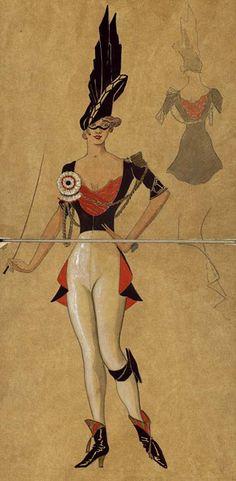 "Léon Bakst, Costume Design for ""Hullo, Tango!"" 1914"