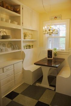 Kitchen booth as dining room table