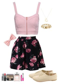 """Pink and Floral"" by sammystarr ❤ liked on Polyvore featuring Jane Norman, Bobbi Brown Cosmetics, Barry M, Christian Dior, H&M, Forever 21, Charlotte Russe, Chanel and Tiffany & Co."