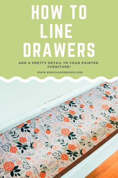 Learn how to line dresser drawers with paper. This simple detail add so much to painted furniture. Read more about DIY drawer liners! - March 02 2019 at Retro Furniture, Refurbished Furniture, Colorful Furniture, Paint Furniture, Repurposed Furniture, Bedroom Furniture, Furniture Makeover, Office Furniture, Furniture Stores