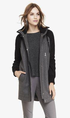 Wool blend hooded coat #Express
