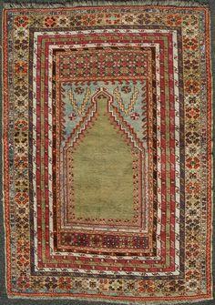 "Mudjur Prayer Rug, Central Anatolia, circa 1800 - 1820. 177 cm x 128 cm, (c. 5´10"" x 4´3""). Excellent condition. Room 302"
