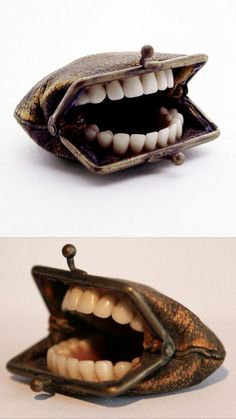 And over on my Halloween Blog… DIY Inspiration: Teeth Purse by Artist Nancy Fouts Because it's the little creepy details that are the scariest… How can you make your own? Dentures and a coin purse. An #diypurse