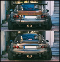 Still can't decide. Big wang or ducktail? //⬆️ or ⬇️ #mazda #miata #roadster #mx5 #bronzemiata #racecar #stance #gtwing #ducktail #carbonfiber #groundzero #JapanRacing #japanracingwheels #Athens #glac #a6000 #wide #offset #lowoffset #camber #wrongalignment #fenderflares