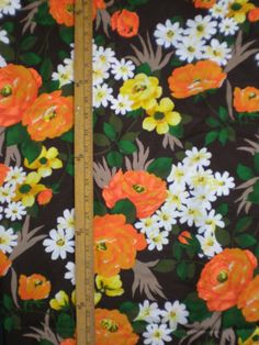 Vintage 1960s 70s Forest Flower Print fabric 1/2 by pintucksew