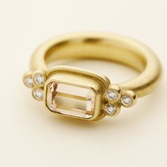 Marlene Juhl Jørgensen, 18kt gold ring with diamonds and pink sapphire.