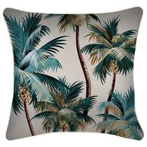 Indoor Outdoor Cushion Cover-With Piping-Palm Trees Natural-45cm x 45cm